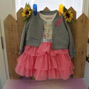 NEW Little Lass Grey 2pc Fancy Twirly Dress Set 2T